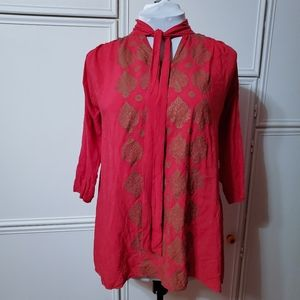 Tops - Fuschia & Gold Flowing Tunic